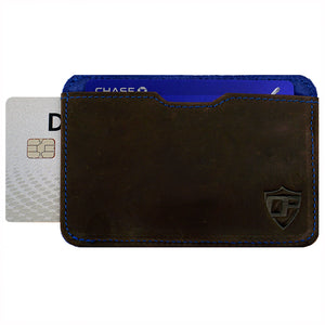 Card Blocr Pull Tab Wallet in Brown Leather & Blue Suede | RFID Blocking Wallet