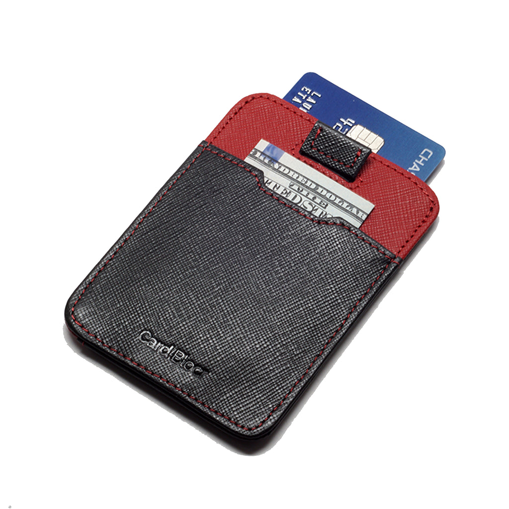 Card Blocr Pull Tab Wallet in Black & Red Saffiano Leather | RFID Blocking Wallet