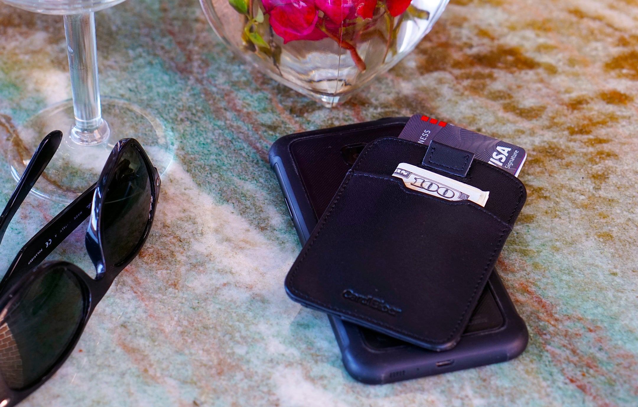 Card Blocr Pull Tab Wallet in Black Leather | RFID Blocking Wallet