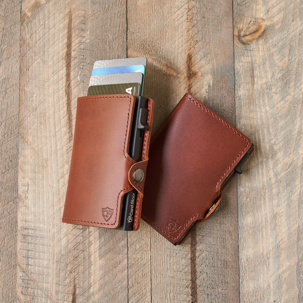 Card Blocr Credit Card Wallet Brown Leather and Black Metal Front Pocket Minimalist Wallet