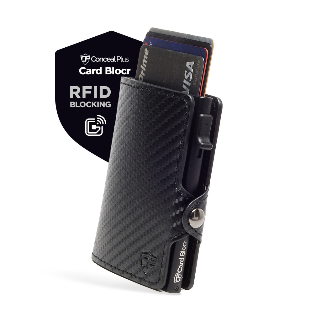 Card Blocr RFID Minimalist Wallet in Black Carbon Fiber Style