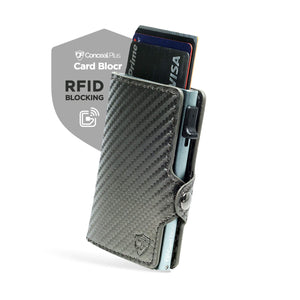Card Blocr Credit Card Wallet | PU Carbon Fiber RFID Blocking Minimalist Wallet