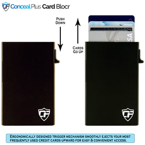 Card Blocr Credit Card Wallet Black Leather and Red Metal Front Pocket Minimalist Wallet