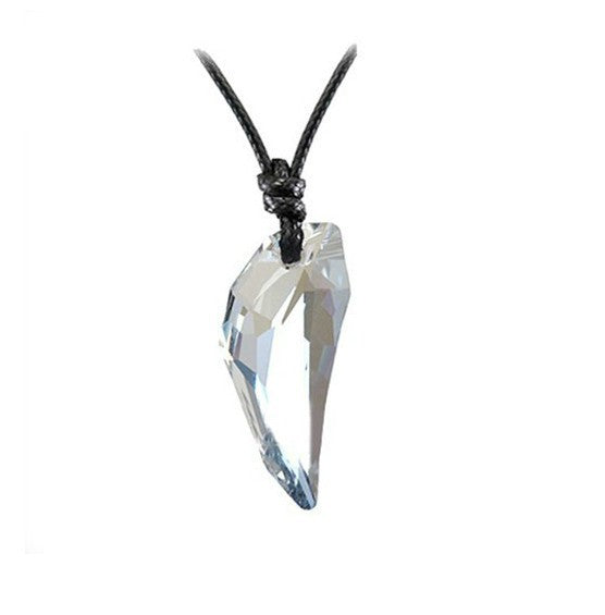 Austrian Crystal The teeth of the Wolf pendant chains long Leather men jewelry necklace 10 colours