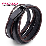 MOZO FASHION Jewelry Men Bracelet Leather Large Black buckle Bracelets & Bangles Weave Bracelets for man Brown arm bangle PS2043