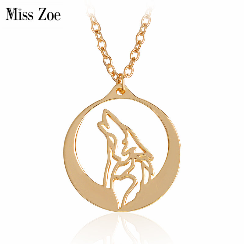 Miss Zoe Howling Wolf Pendant Necklace Punk Animal Chain Gold Silver Fashion Cool Jewelry Gift for Men Boy Friends