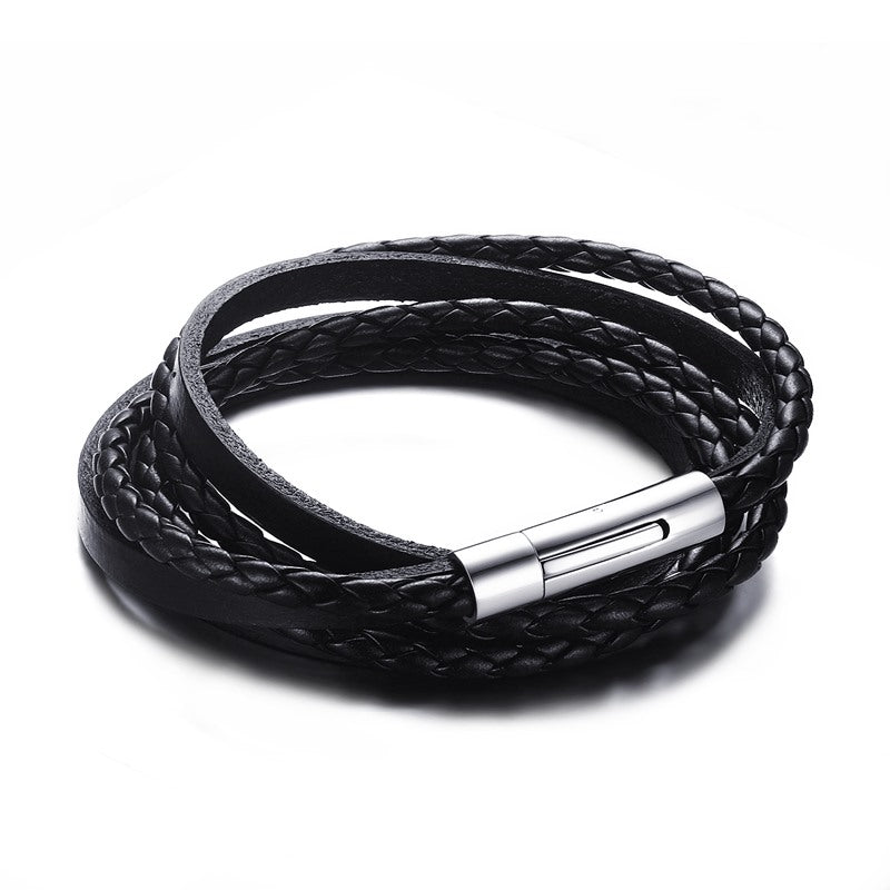 Men's Black Braided Leather Multilayer Wrap Weave Bracelets for Men Stainless Steel Magnetic Clasp Punk Cuff  Bangles Jewelry