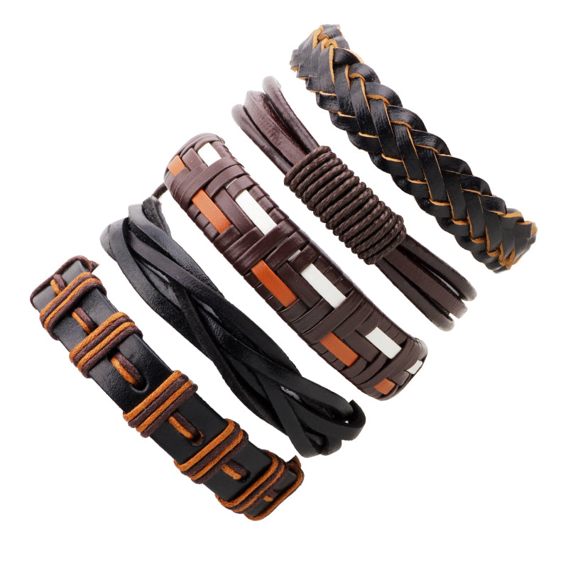 2017 FUNIQUE Men's Bracelets Punk Leather Weave Black Multilayer Adjustable Man Jewelry Vintage Bracelets & Bangles Dropshipping