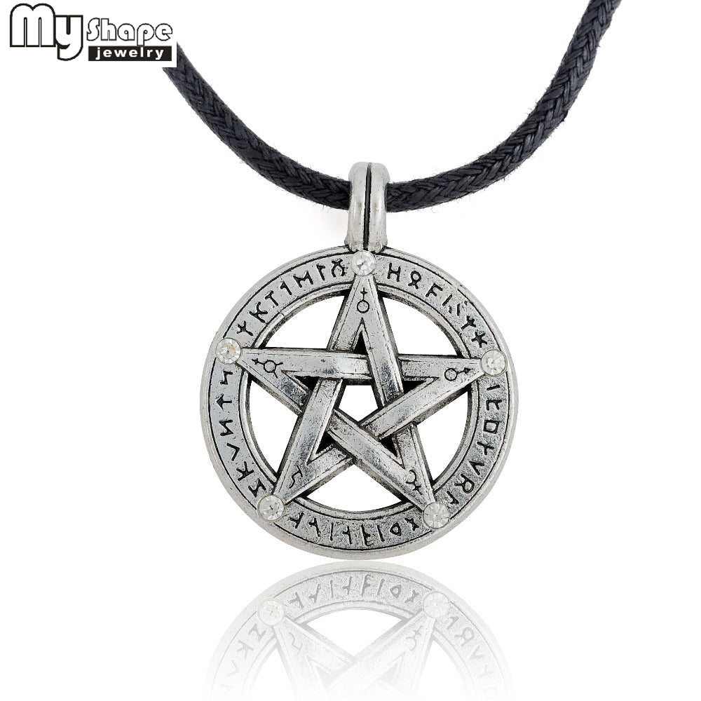 my shape Supernatural Pentacle Pentagram Pendant Men Necklace Witch Protection Star Amulet Necklace Leather Rope Chain