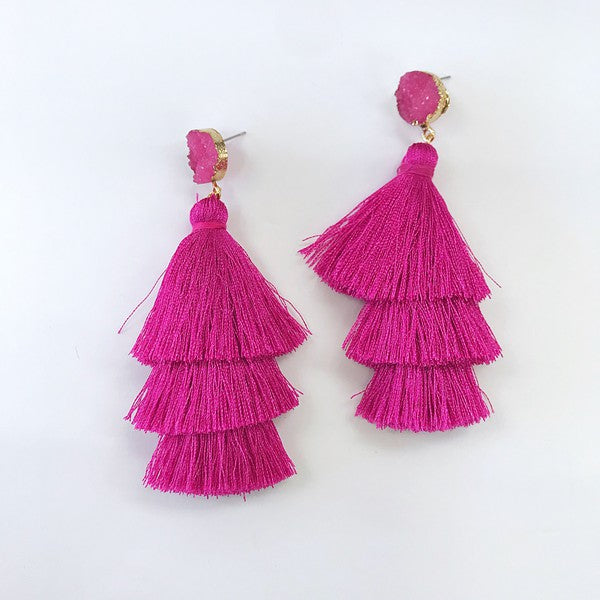 Stone Tassel Earrings