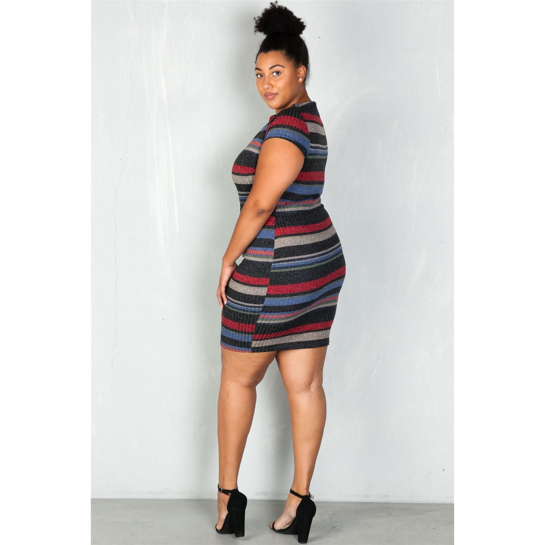 Striped Sweater Dress - The Kurve