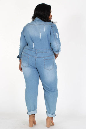 Distressed Button Front Cuffed Jumpsuit