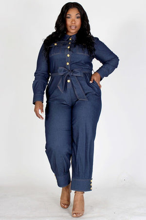 Gold Button Cuffed Jumpsuit