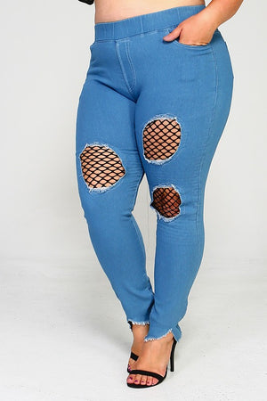 Mesh Insert Jeggings - The Kurve