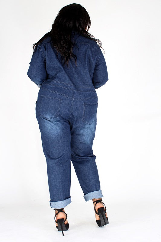 Drk Denim Washed Jumpsuit