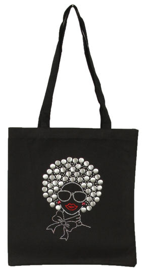 Cotton Studded Afro woman tote bag