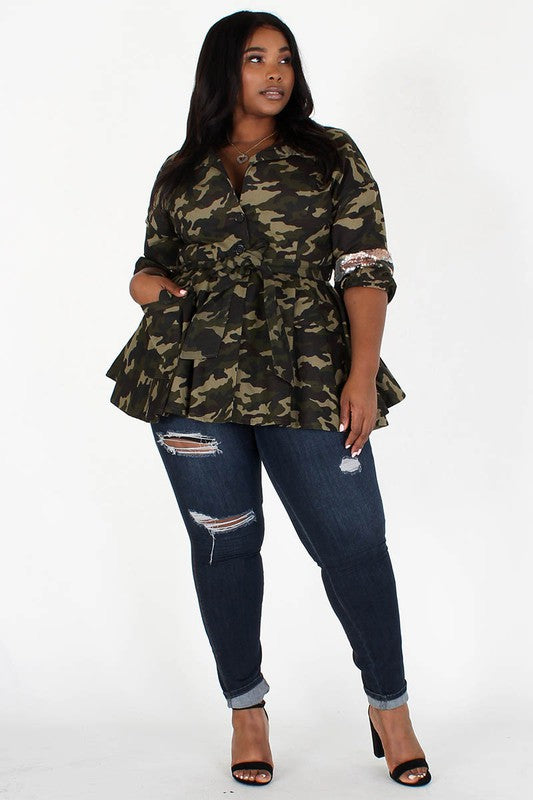 Sequin Embellished  Camouflage Jacket