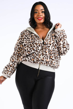 Plus Size Leopard Print hooded zip up bomber jacket