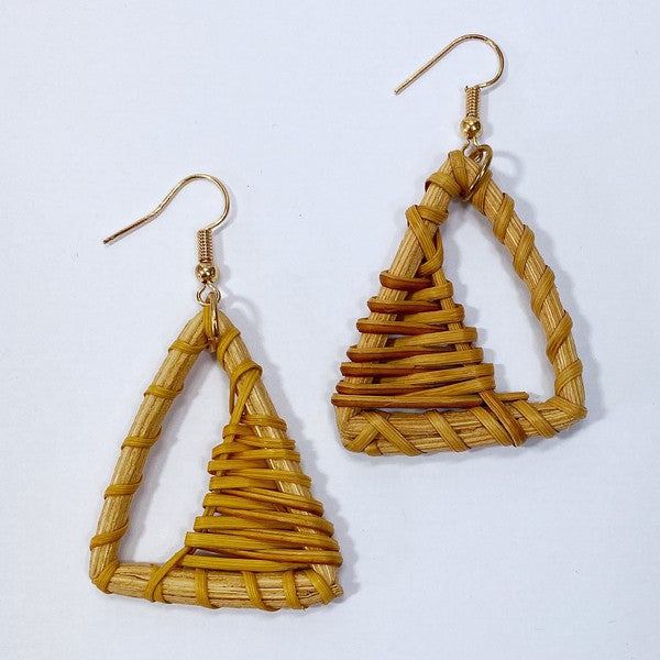 Wooden Triangle Dangle Earrings