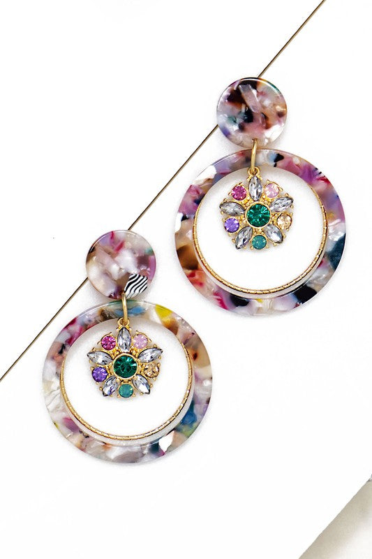 Resin Jeweled Hoop Earrings
