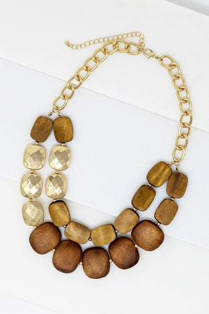 Medal & Wood Statement Necklace
