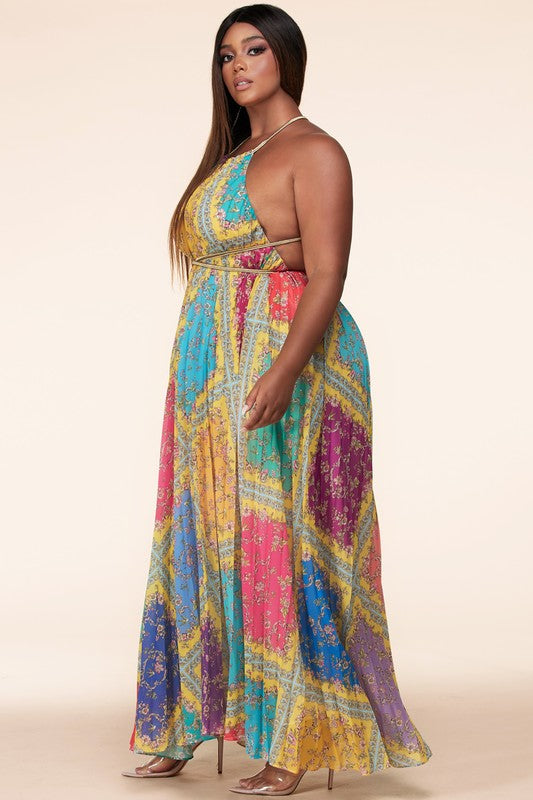 Pleated Floral Printed Maxi