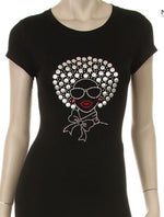 Cotton Studded Afro woman plus size tee shirt