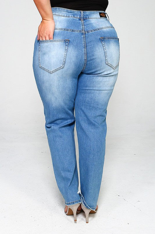 Distressed Plus Washed Jeans