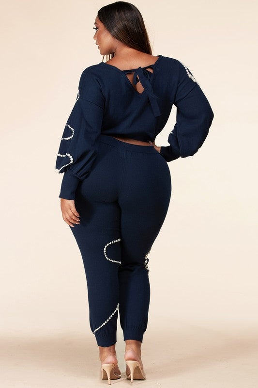 Pearled Detail Navy Sweater Set