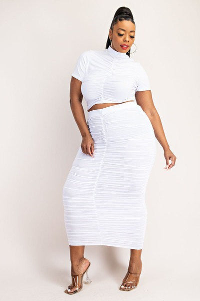 Shirred Cropped Top Skirt Set