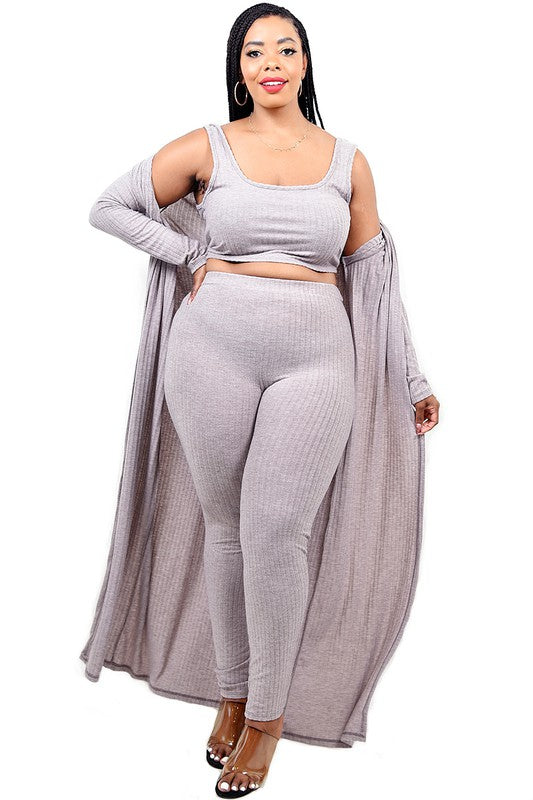 Ribbed Legging & Cardigan Set