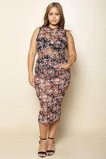 Plus Size Floral Sheer Hooded Dress - The Kurve