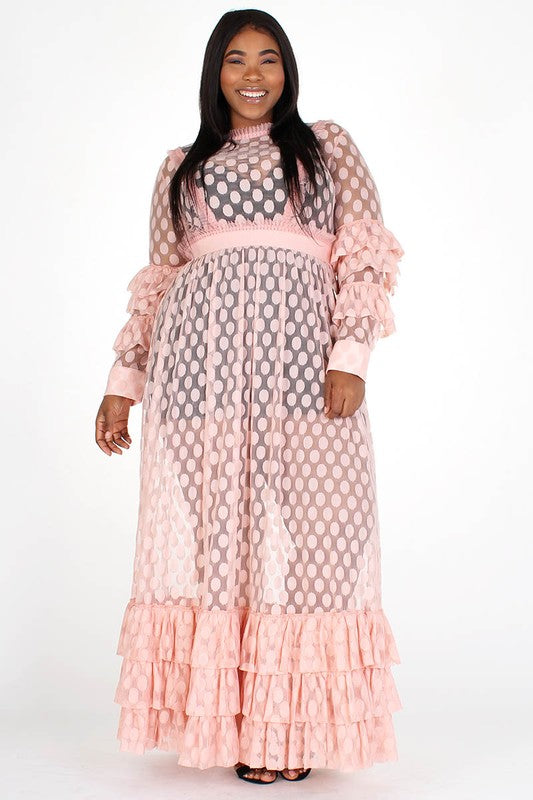 On The Dot Sheer Maxi Dress