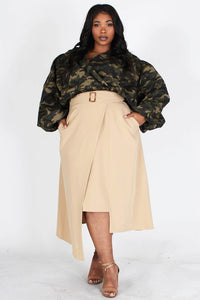 Camo Bubble Cropped Top