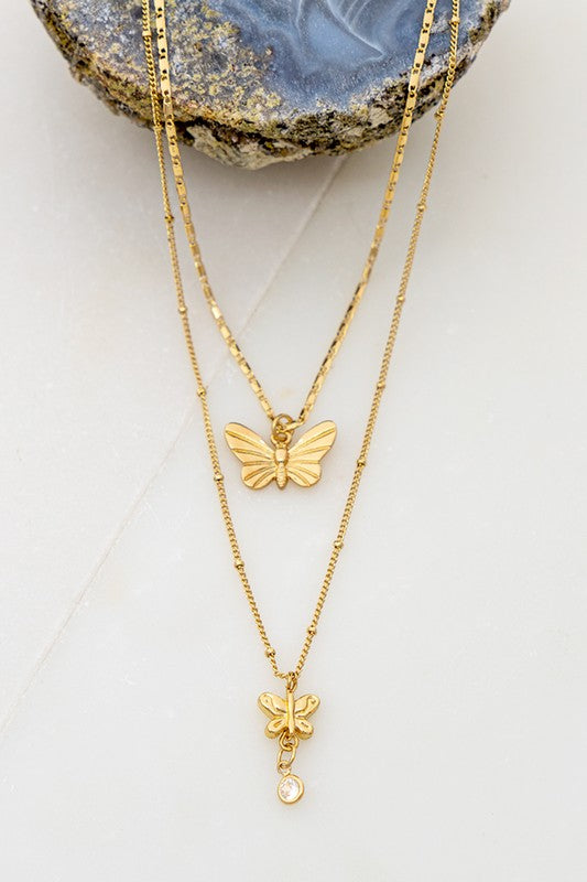 2 Row Butterfly Necklace