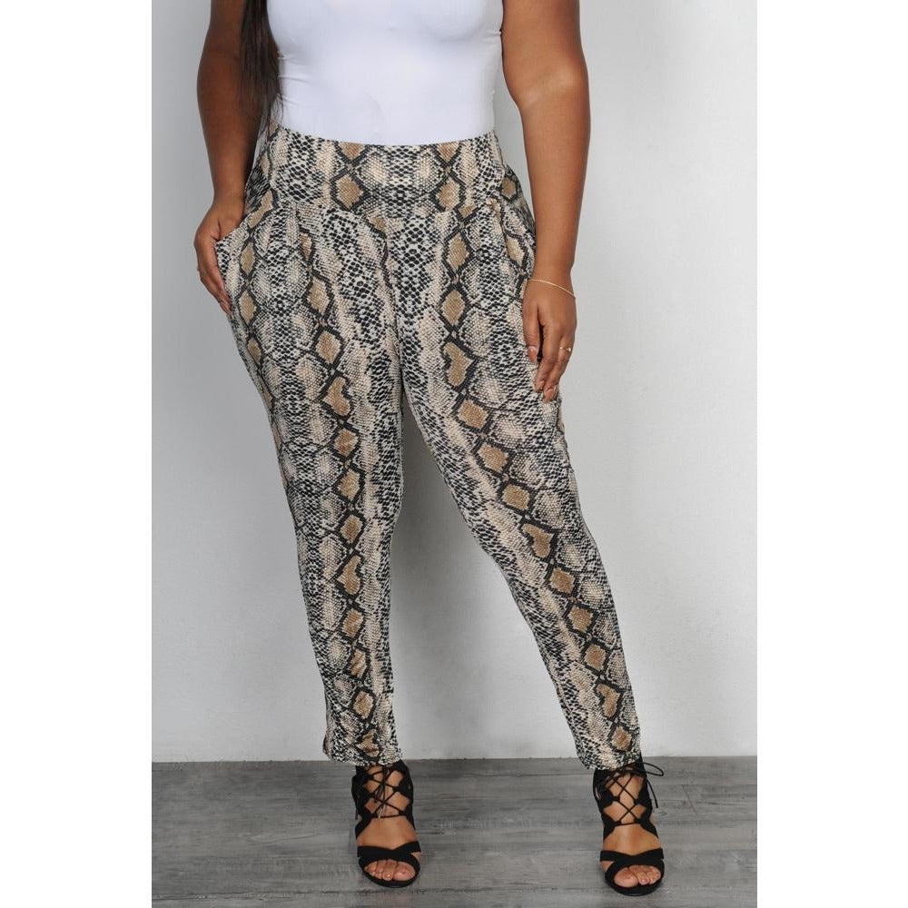 Snake Print Skinny Pants - The Kurve