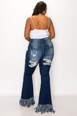 Skinny Flare Fringy Jeans