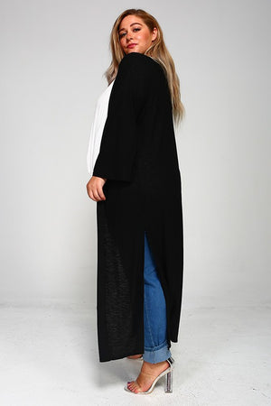 Open Front Side Slit Cardigan