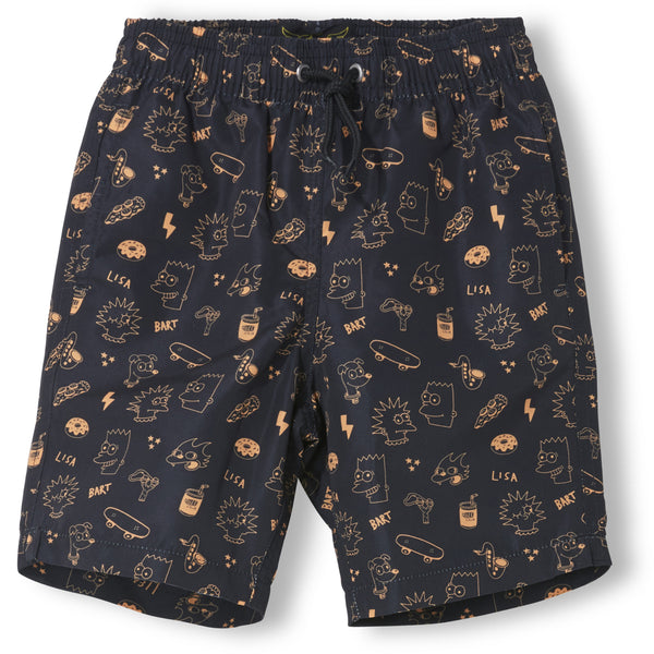 Goodboy Surf Bermudas with simpsons faces - Black