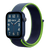 Band for Apple Watch, Woven Nylon Scratch, Midnight Blue/Blue/Lime Green