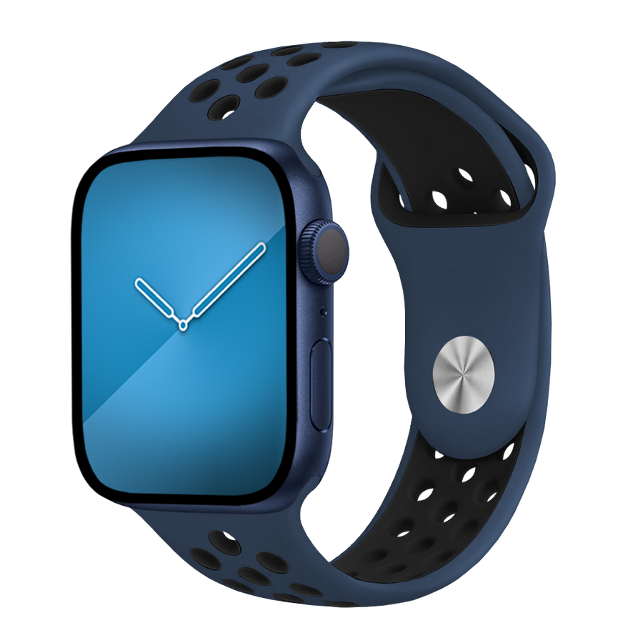 Band for Apple Watch, Sport Silicone, Midnight Blue-Black