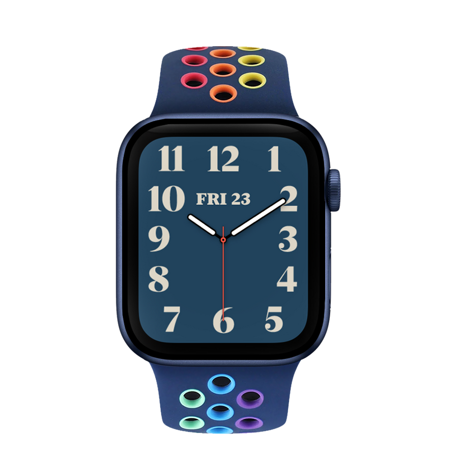Band for Apple Watch, Sport Silicone, Midnight Blue-Rainbow