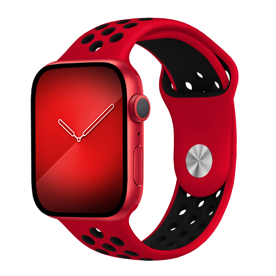 Band for Apple Watch, Sport Silicone, Red-Black