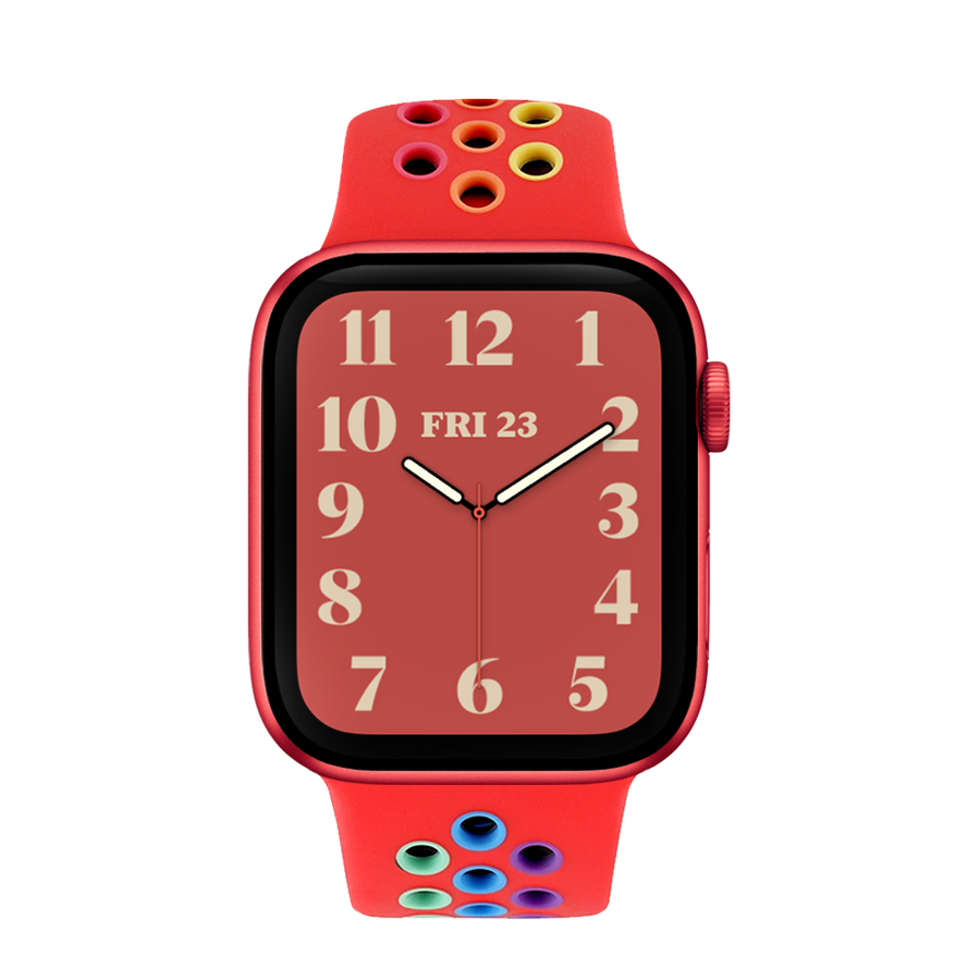 Band for Apple Watch, Sport Silicone, Red-Rainbow