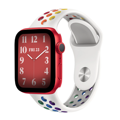 Band for Apple Watch, Sport Silicone, White-Rainbow