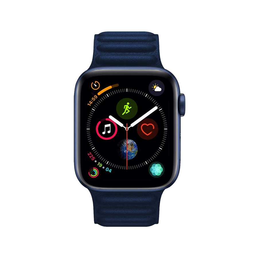 Band for Apple Watch, Magnetic Milanese Leather Clasp-Less, Midnight Blue