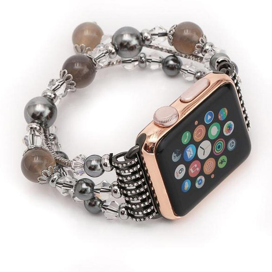 Apple Watch Band, multi-strand stretch cord, beads, fancy