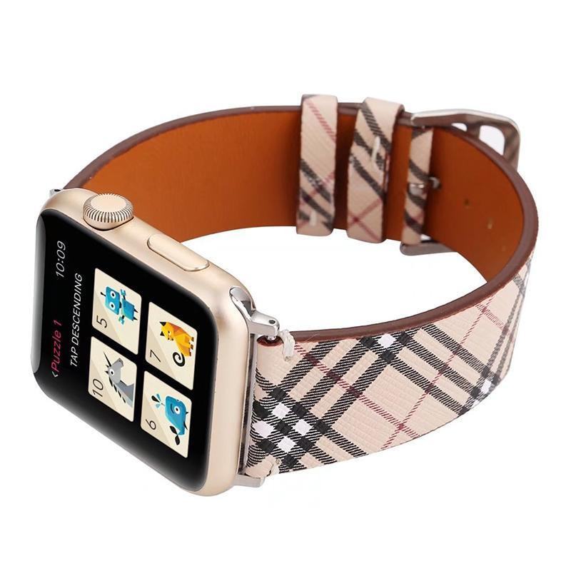 Apple Watch Band, multi-color striped leather