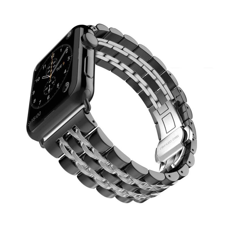 Band for Apple watch, Black Edition, Stainless-Steel Metal Bracelet with Butterfly Buckle