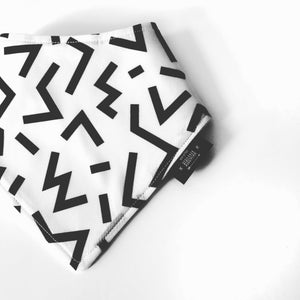 Geometric monochrome dribble bib